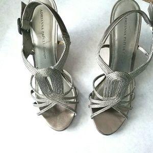 Adrianna Papell silver wedge sandals Maiden 10M